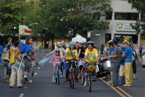Bikes in the Street with Band