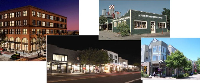 Downtown, the Beam Building, 5th Street Public Market, Down to Earth, and downtown housing