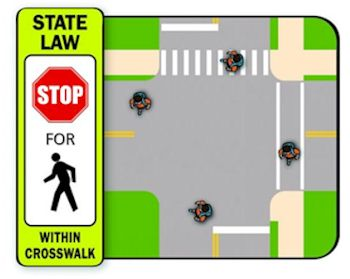 Graphic showing crosswalk