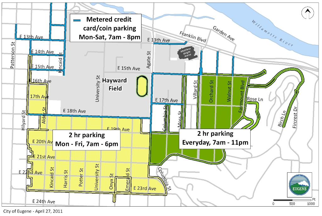 Arena and Campus Parking | Eugene, OR Website