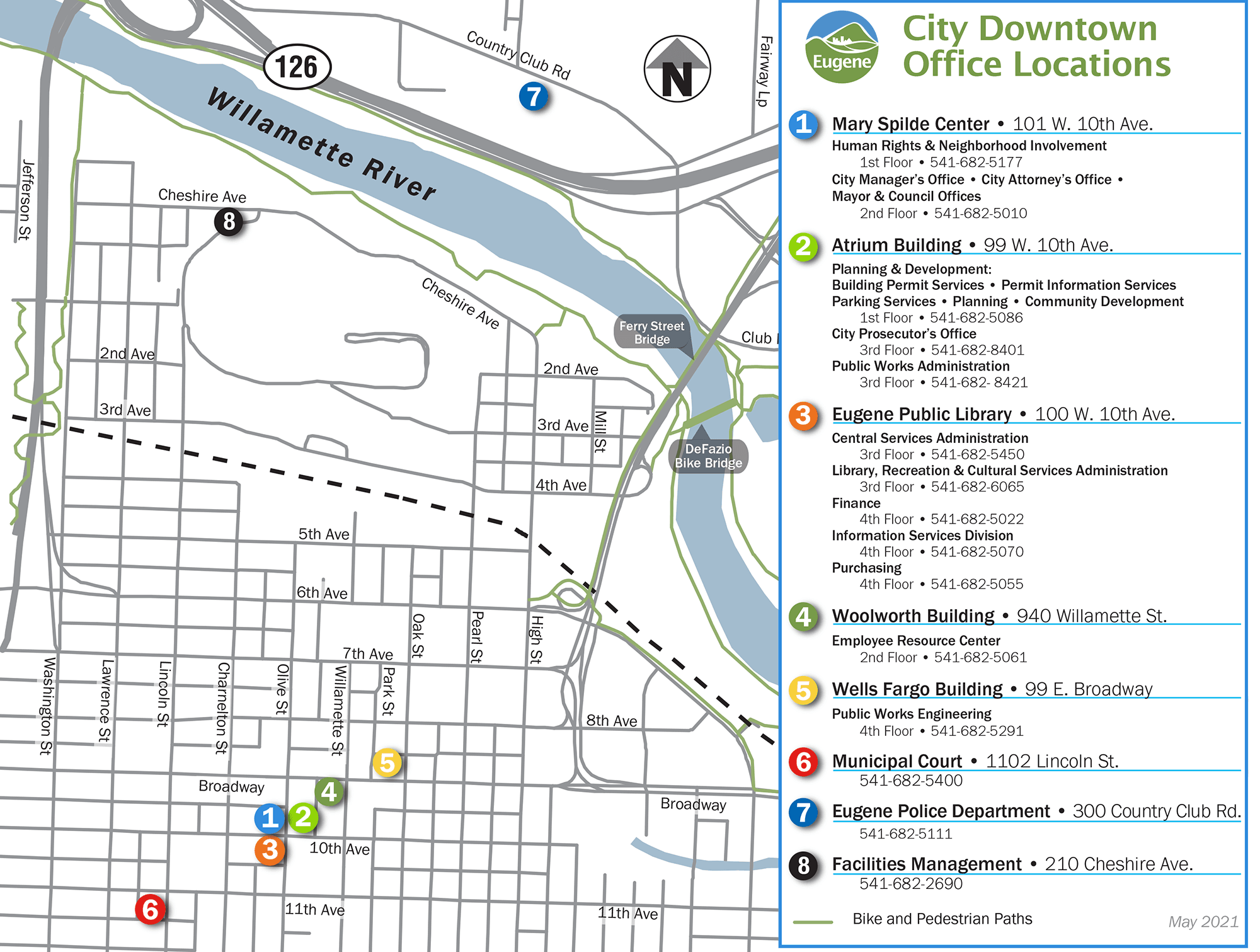 City of Eugene Offices Map