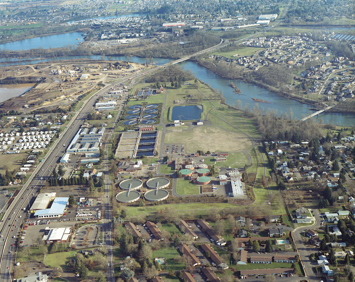Arial view of the Wastewater Treatment plant on River Ave.