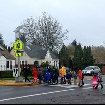 Children Crossing Chambers Street in the Stutter Flash Crossing