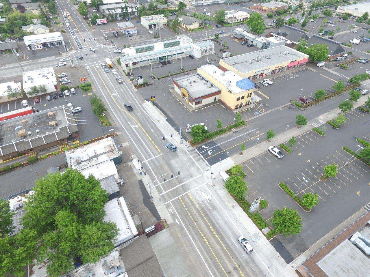 View of reconfigured Willamette Street, pic courtesy: Brown Construction