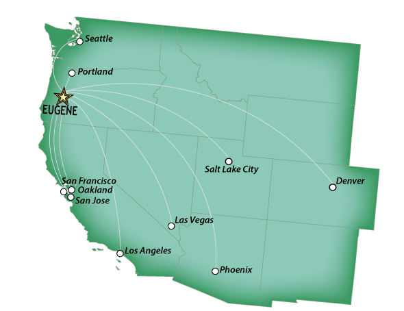 Eugene Airport route map