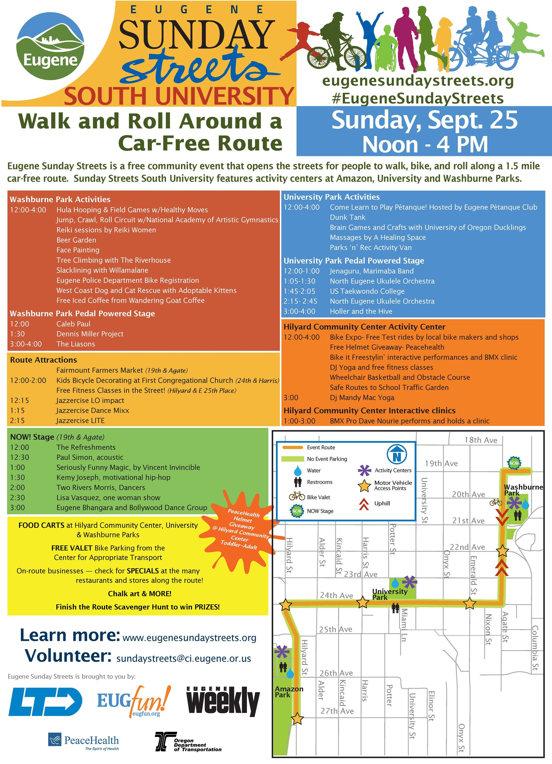 Eugene Sunday Streets South University Program and Schedule for 2016