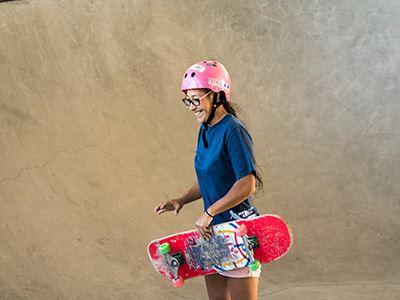 Girl skateboarder at WJ Skatepark