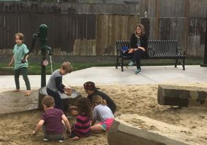 Sand and water play feature at Charnel Mulligan Park