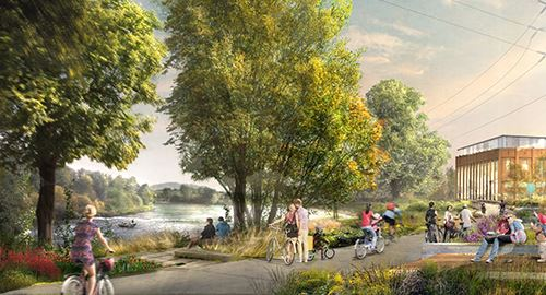 Artistic rendering of the future Riverfront Park showing a walking/bike path along the Willamette