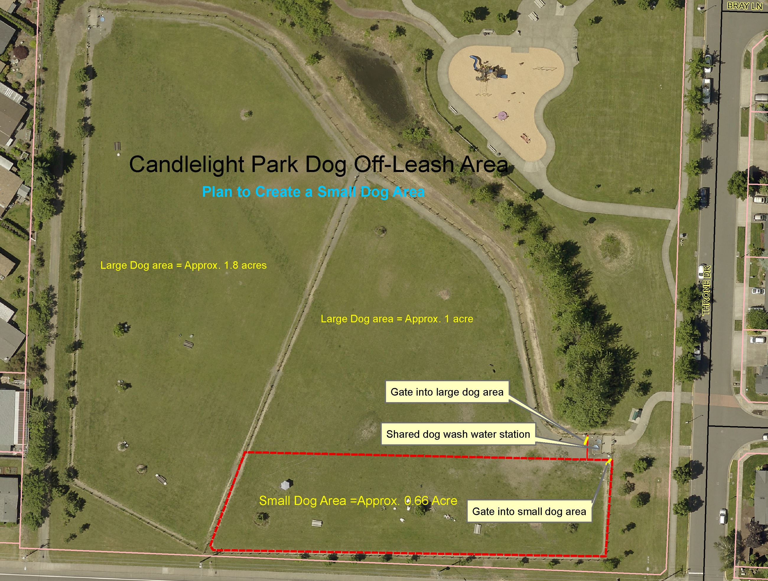 Map of Candlelight Dog Park with new small dog area