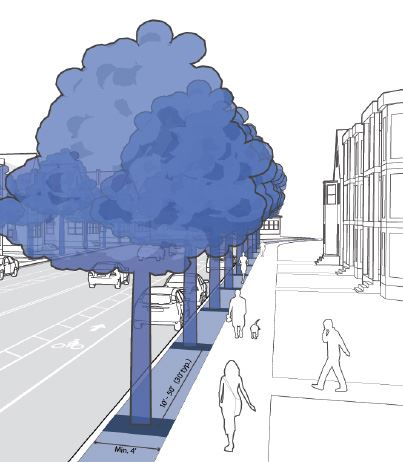 Pedestrians walking along sidewalks and building entrances with street trees