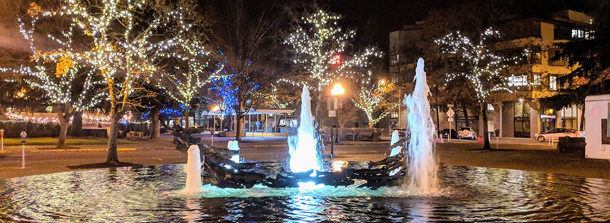 The downtown Park Blocks are aglow with holiday lights throughout the winter.