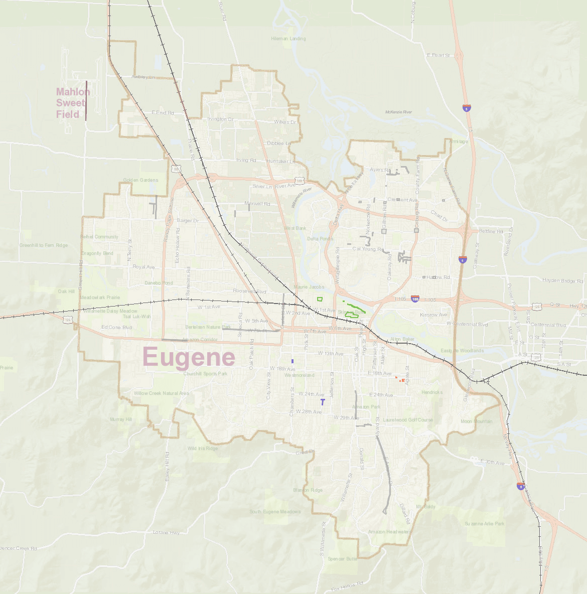 Map of Eugene with projects shown with different projects in various colors