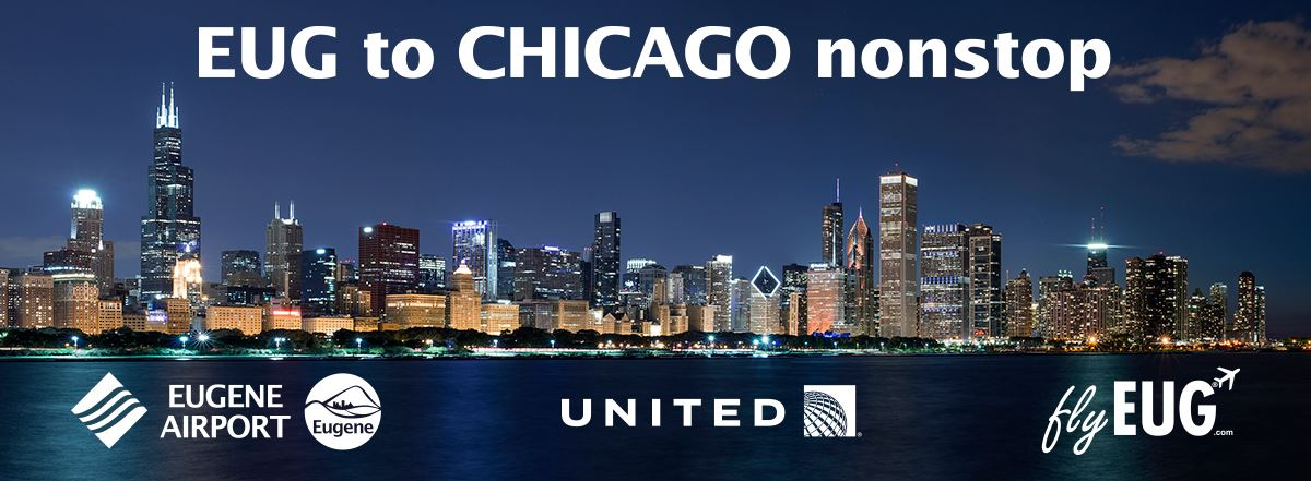 United Airlines Eugene to Chicago flight starts June 2019