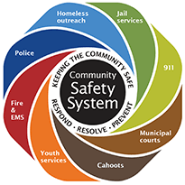Graphic showing all agencies that make up our community safety system