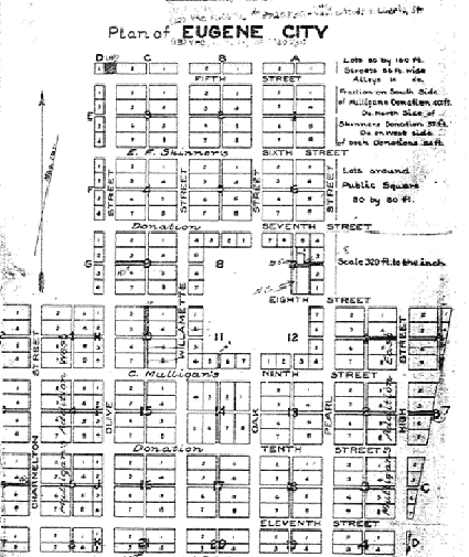 Plan of Eugene City recorded in May 1856