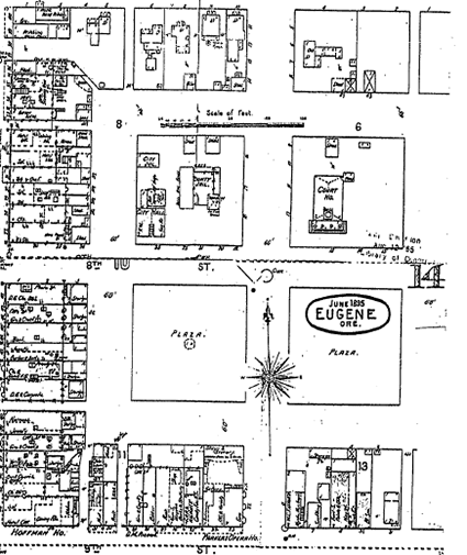 June 1895 - Map of Town Square with blocks labeled as plazas