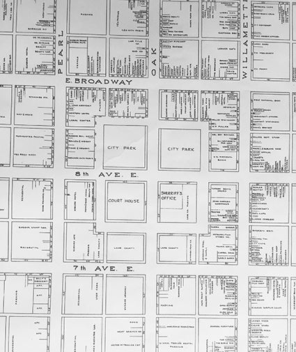 Map of Town Square circa 1950 shows increased business surrounding the Park Blocks