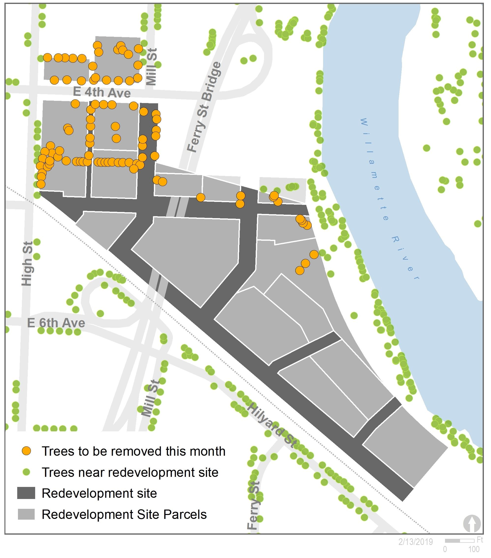 diagram showing trees to be removed from the redevelopment site