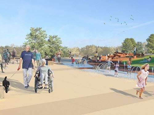 Rendering of riverfront event plaza