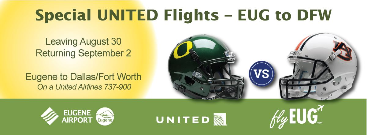 EUG-DFW_UnitedFlight for Oregon Ducks Football at Auburn