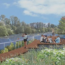 illustration of riverfront park
