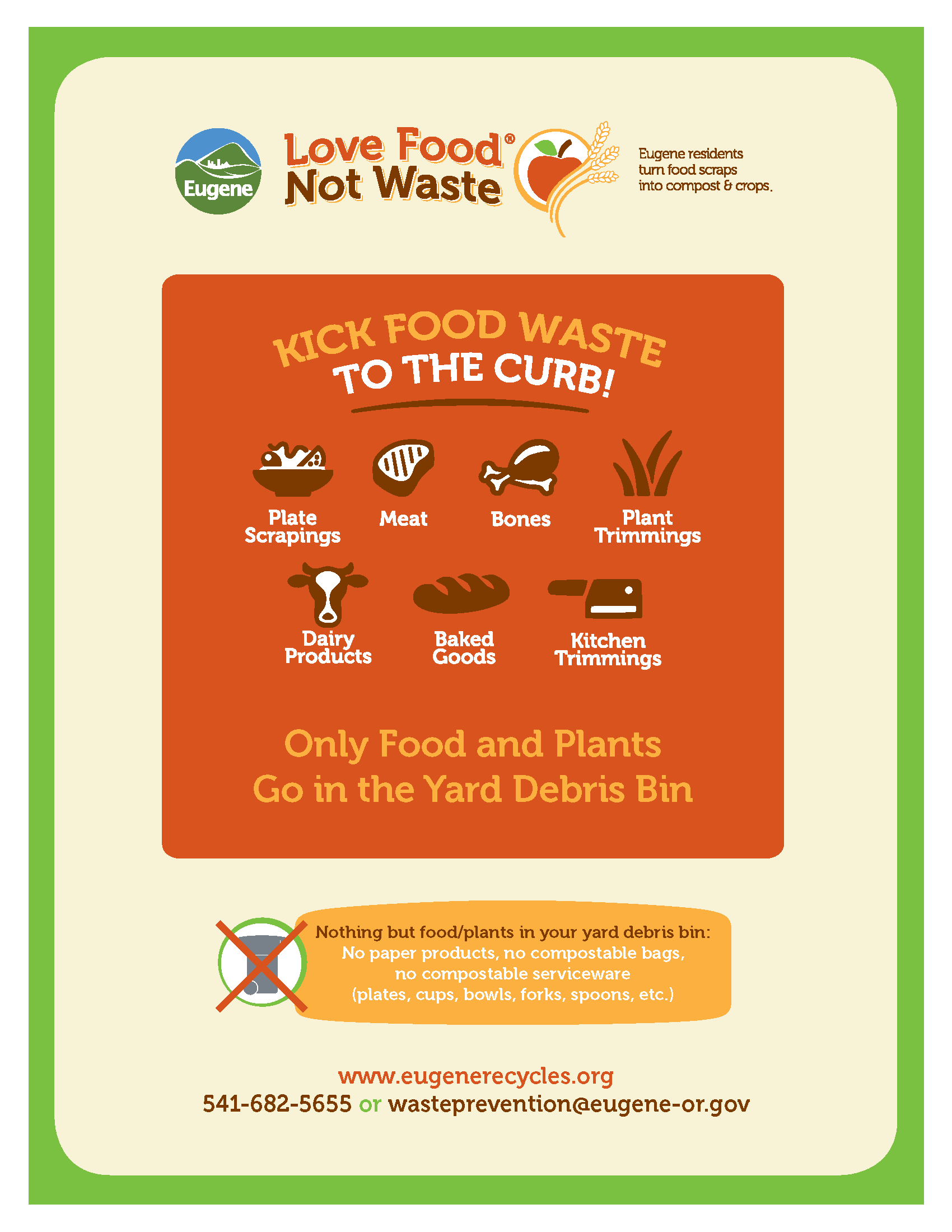 Residential food waste printable. Only food and plants go in the yard debris bin.