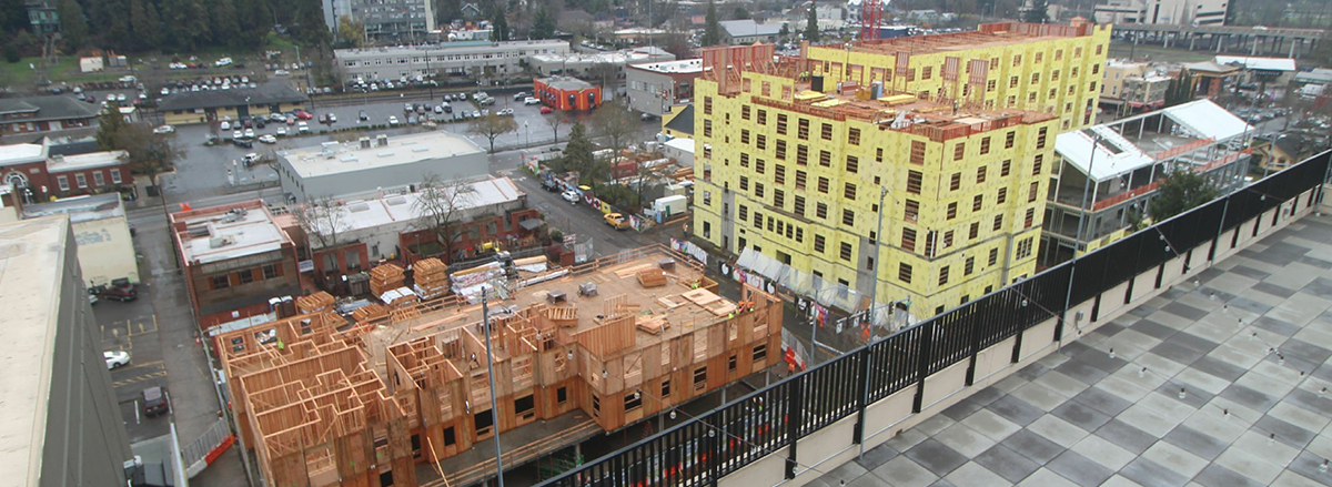 Check out a webcam and time lapse video of Homes for Good's 50 affordable housing units called the Market District Commons going up as part of the 5th Street Market Expansion.
