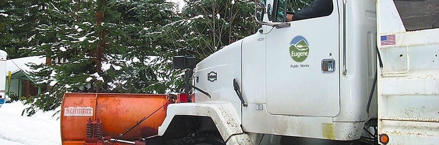 The City of Eugene maintains designated snow routes during winter storm events.