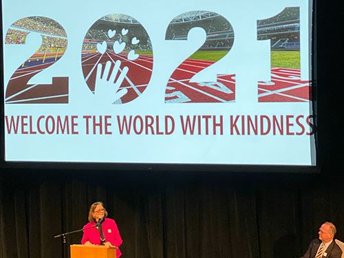 Mayor Lucy Vinis gave a keynote presentation at the Choose Kindness campaign kickoff.