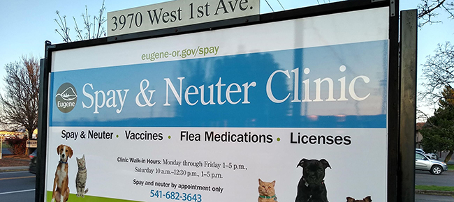 Sign in front of Spay and Neuter Clinic