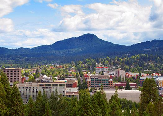 Panoramic view of downtown Eugene looking towards Spencer Butte
