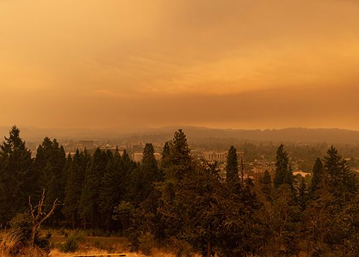 View of Skinner Butte on a day with excessive smoke from the McKenzie fire.