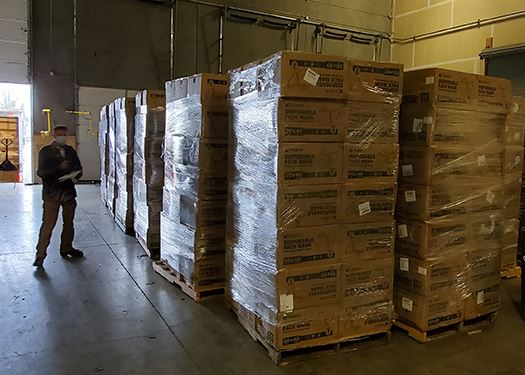 City of Eugene receiving pallets of PPE that will be distributed for free to small businesses.