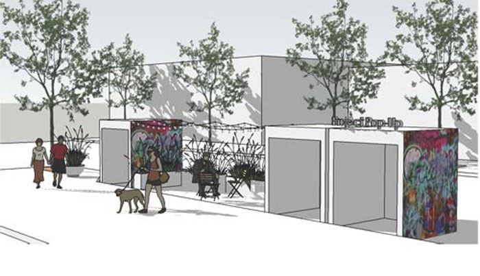 Rendering of pop up retial shops along Olive Street