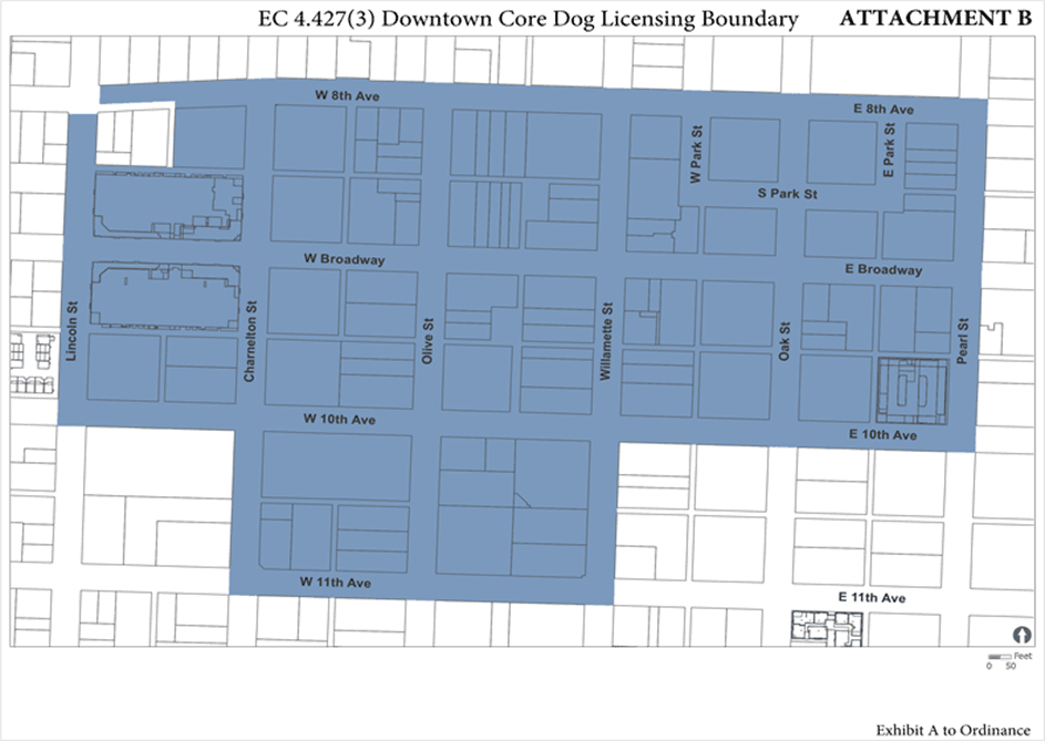 A map of the Downtown Core Dog Licensing area, The Downtown Core area encompasses roughly from 8th A