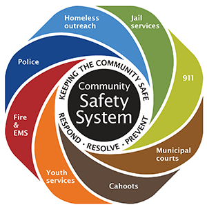 The Community Safety System is made up of an interdependent group of City department and community partners