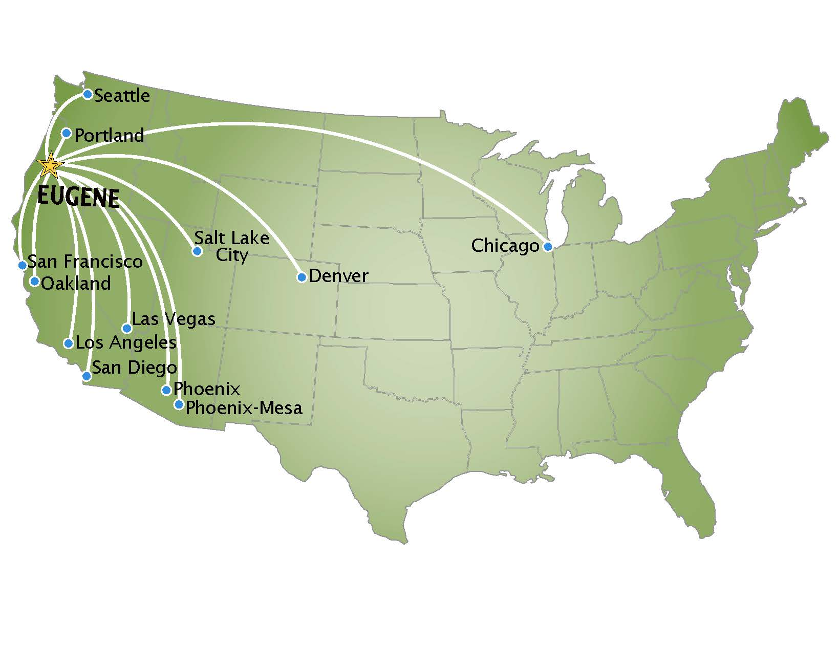 2019 map of nonstop flights from Eugene