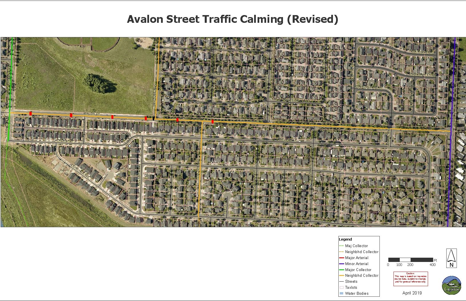 Avalon Street Traffic Calming REVISED 350 ft spacing for display map
