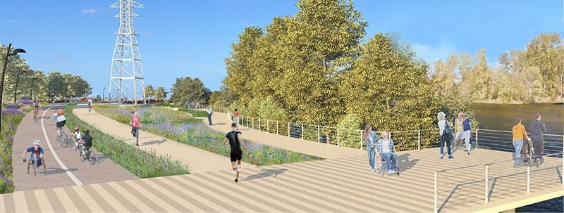 Rendering of Downtown Riverfront bike and running paths
