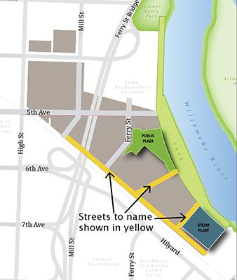 Map of downtown riverfront identifying the three streets that need names