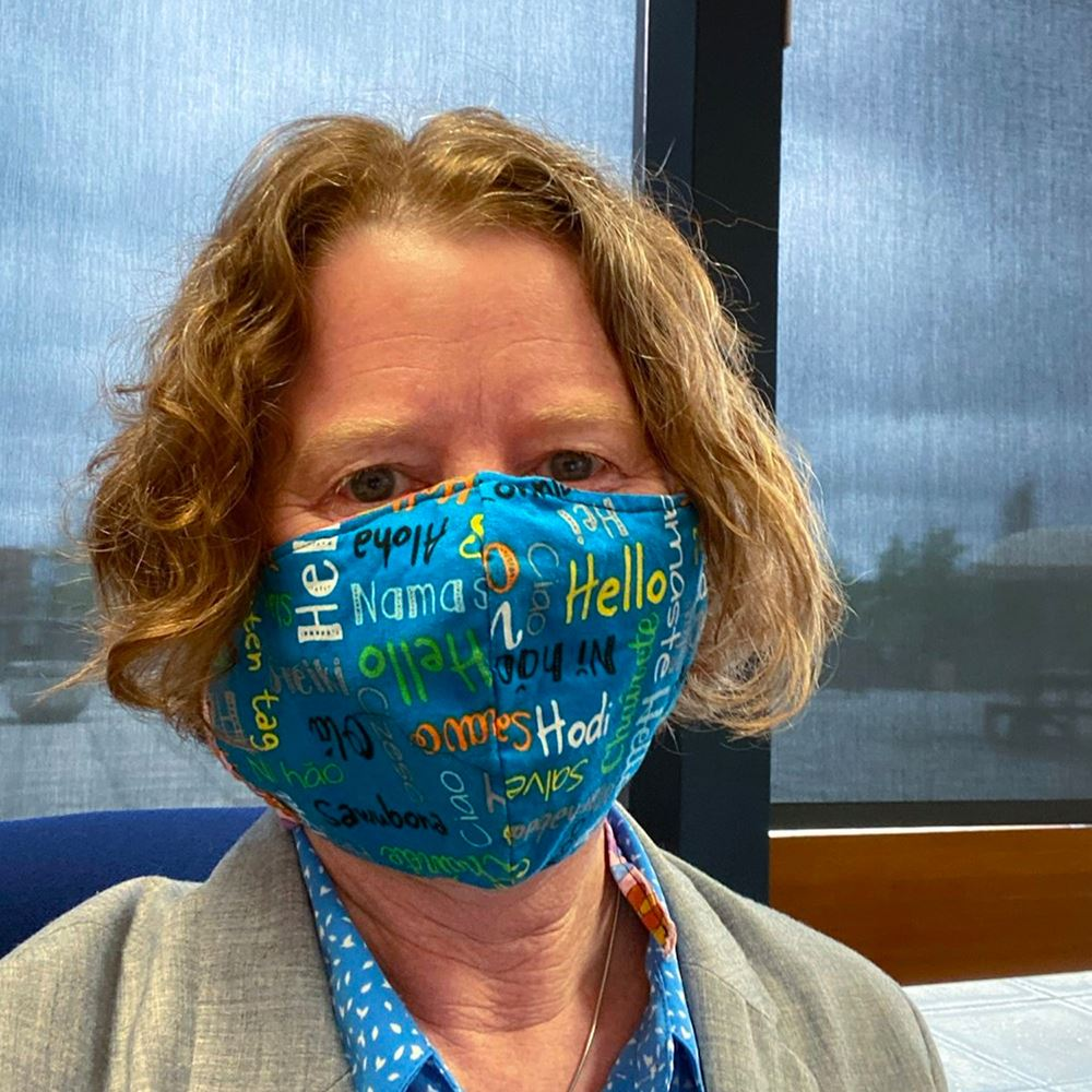 City Manager Pro Tem Sarah Medary wearing a face mask