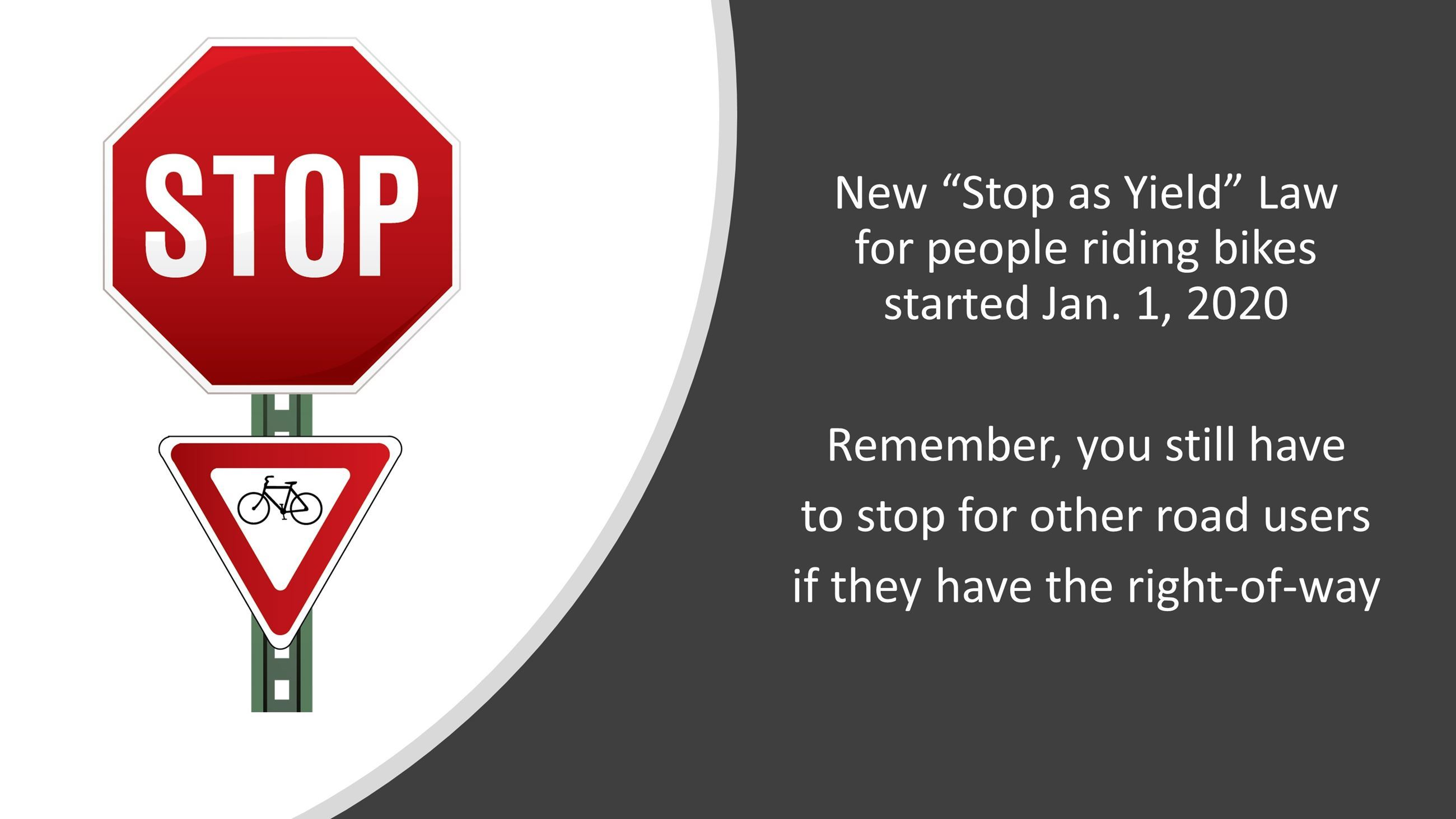 New Bike Law: Yield at Stop Signs