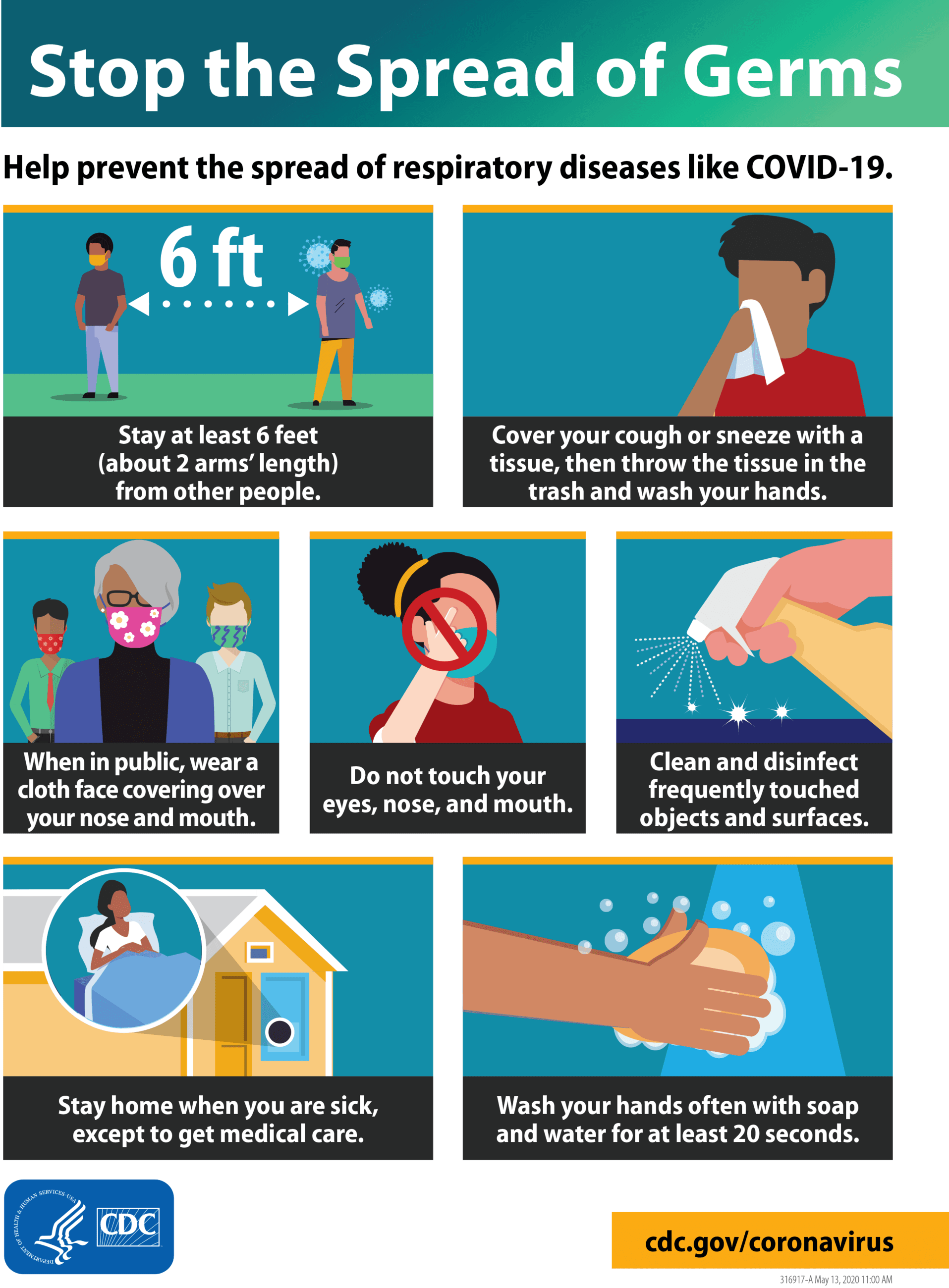 CDC Poster about stopping the spread of germs Opens in new window