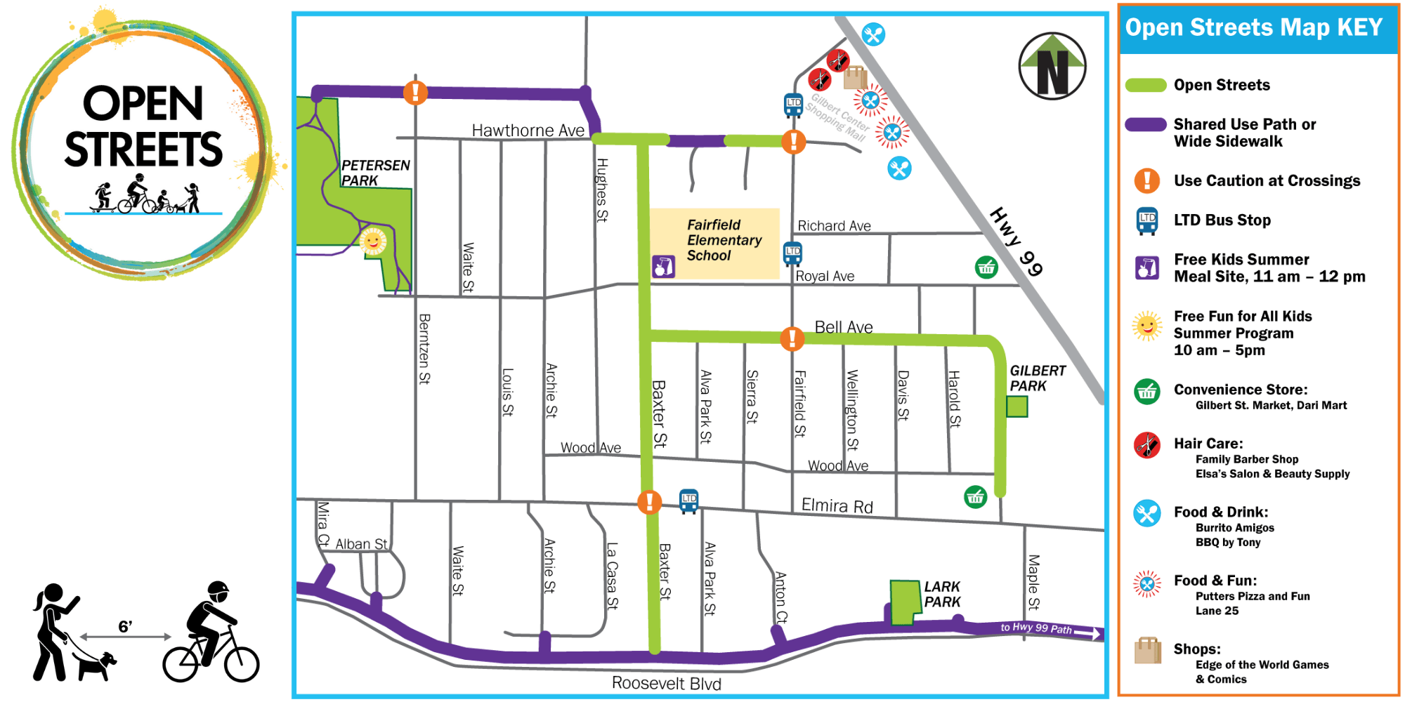 Map of Bethel Open Streets with logo and reminder to stay physically-distanced
