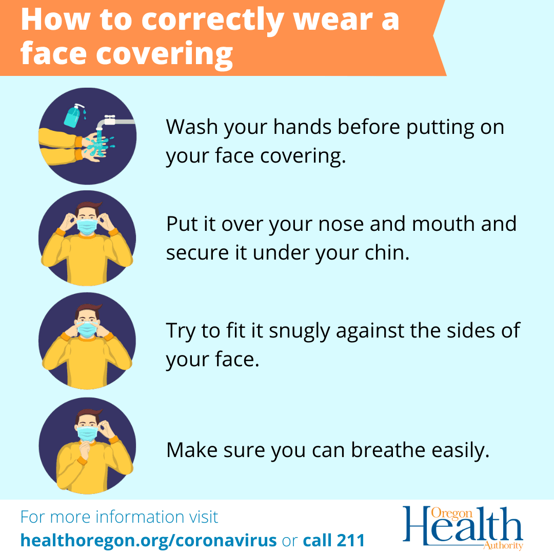 Instructions on how to properly wear a mask from the Oregon Health Authority Opens in new window