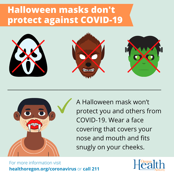 Halloween Masks Don't Protect Against COVID-19 - Oregon Health Authority Opens in new window