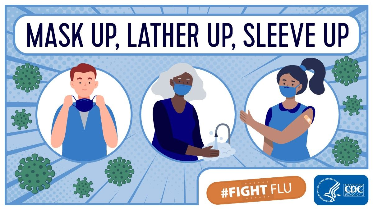 Mask up, Lather up, Sleeve up #Fight Flu Opens in new window