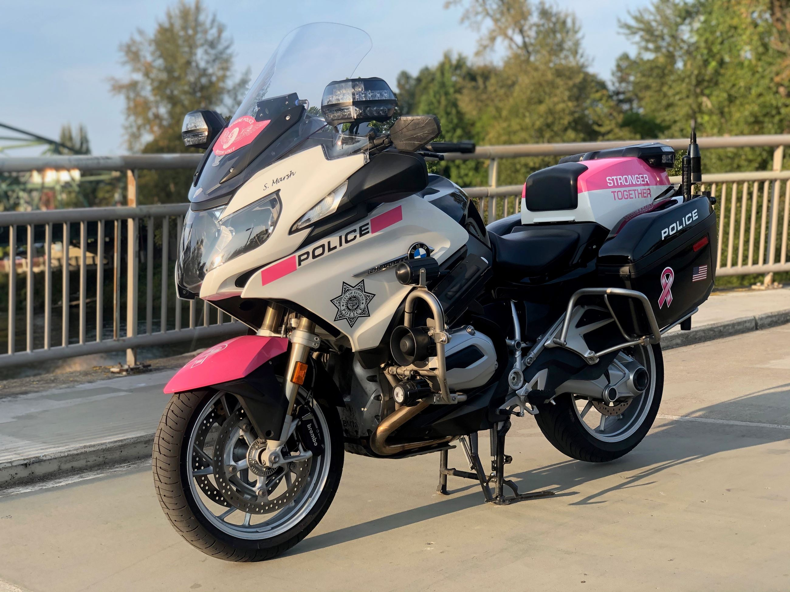 For Breast Cancer Awareness Month, Traffic Safety Unit Motorcycle Gets Pink Graphics