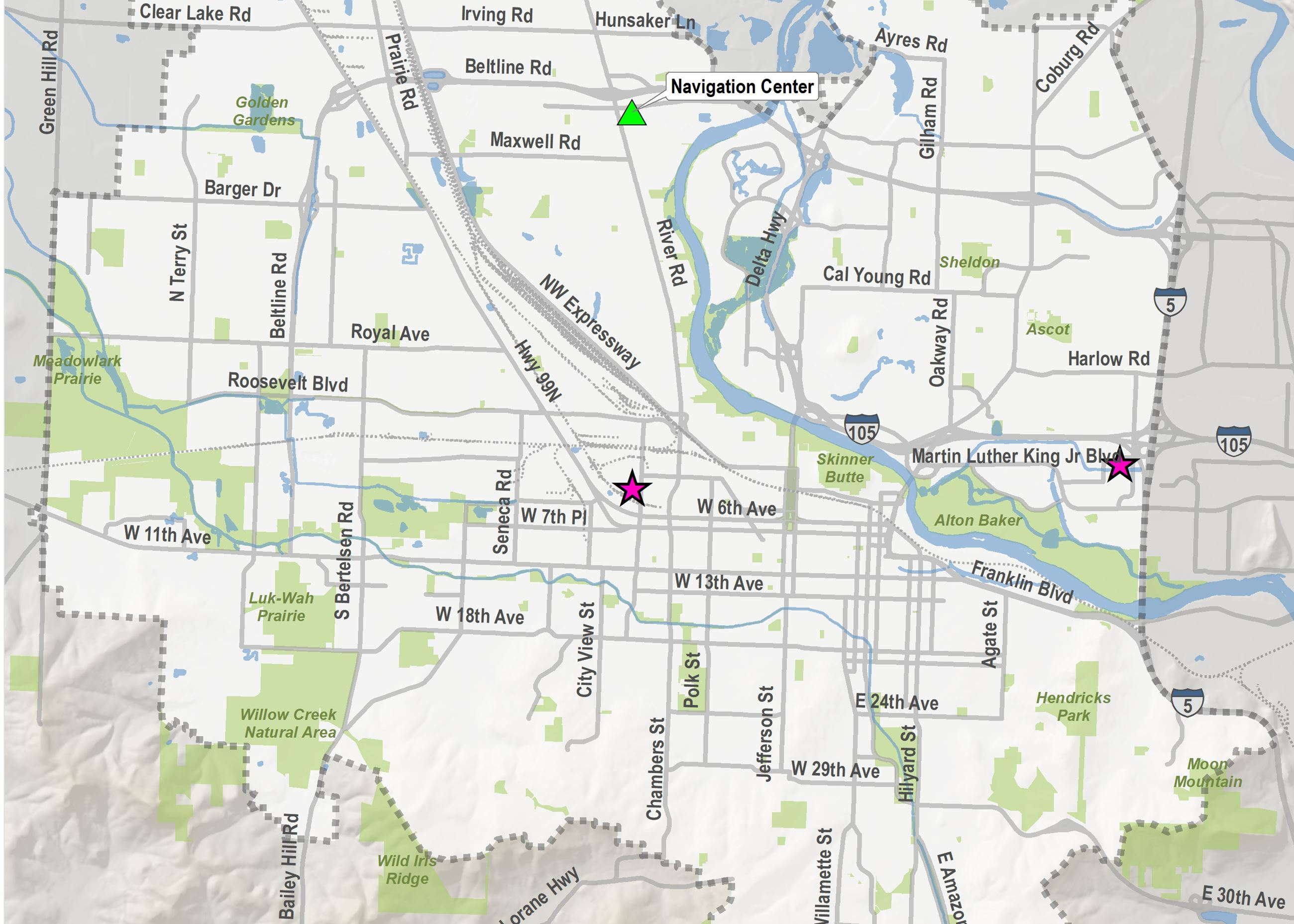 A map of Eugene with stars marking the location of two new Safe Sleep sites.